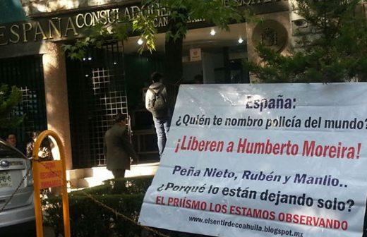 Piden libertad para Moreira en embajada de España en México