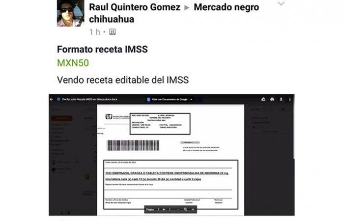 venden de nuevo el formato de receta del imss editable en redes sociales