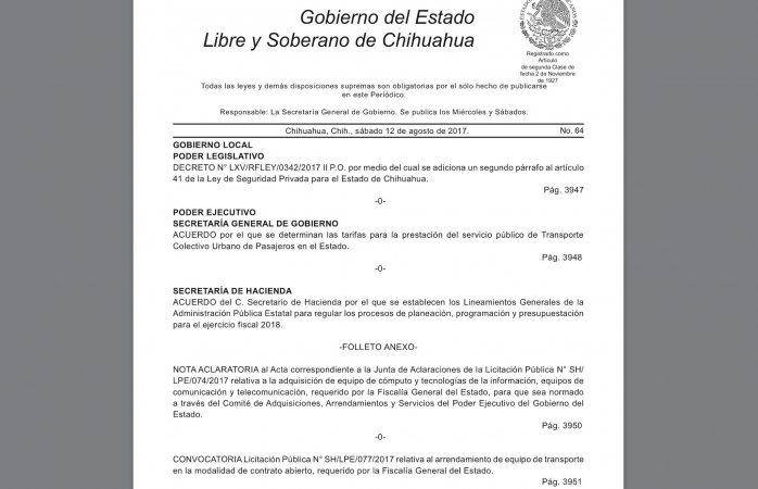 Excluyen de periódico oficial lineamientos para prepuesto 2018