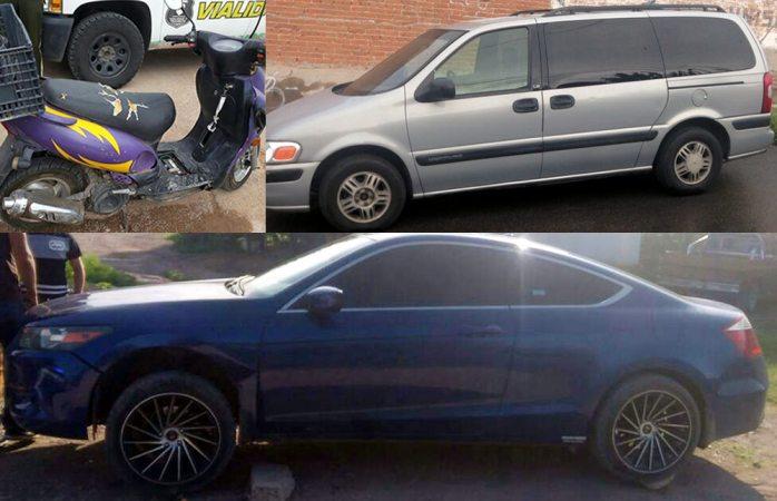 Recuperan un auto, una moto y una camioneta robados