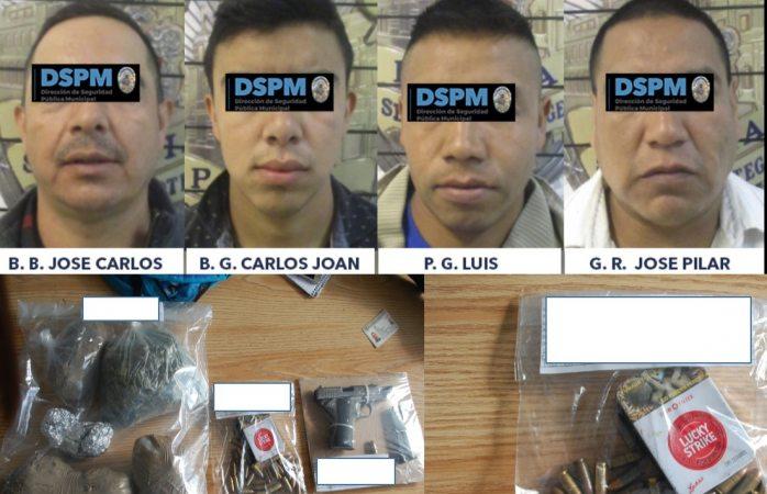Los detienen con arma de fuego y casi 1 kilo de marihuana