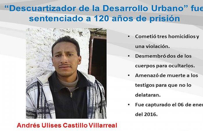 Le dan 120 años de cárcel a descuartizador de la Desarrollo Urbano