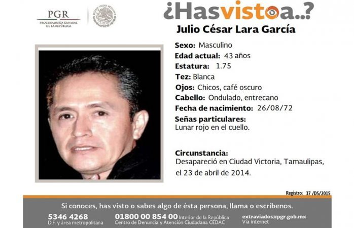 Piden ayuda para hallar a Julio César Lara García