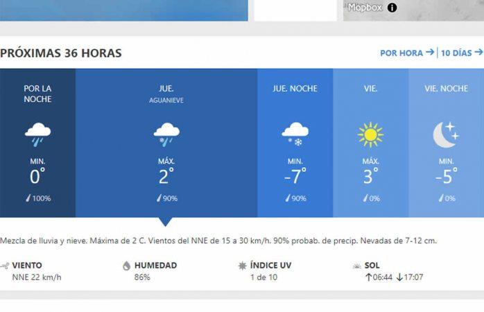Pronostican máxima de 2º C, mínima de -7º C y nevadas