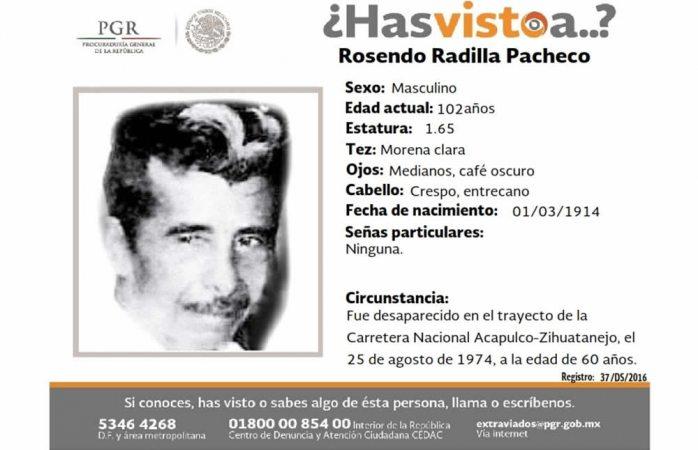 Piden ayuda para hallar a Rosendo Radilla Pacheco