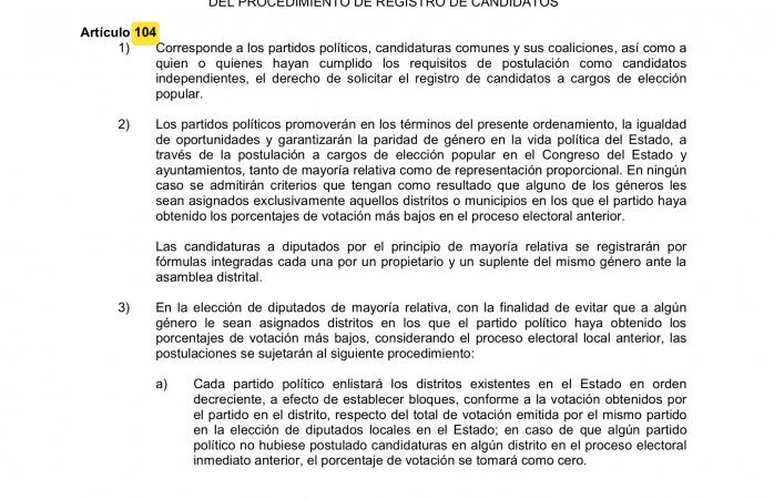 Violentan lineamientos de paridad del IEE articulo 194 de ley electoral