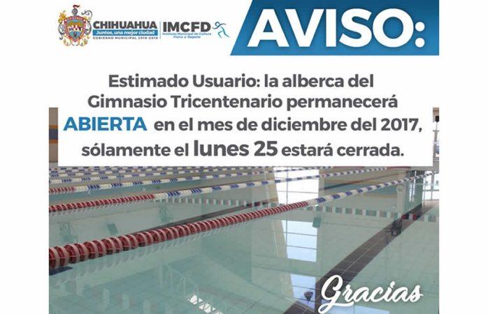 Permanecerá abierto Centro Deportivo Tricentenario en diciembre