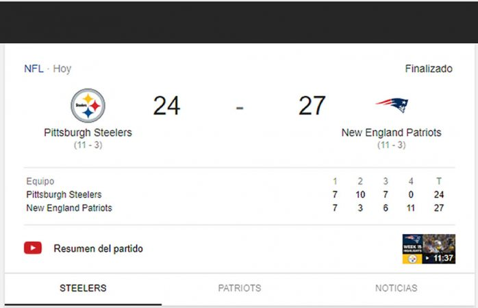 Vence Patriots a Steelers