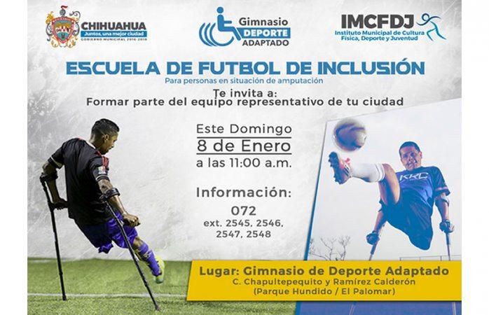 Invitan a inscribirse en Escuela de futbol de inclusión