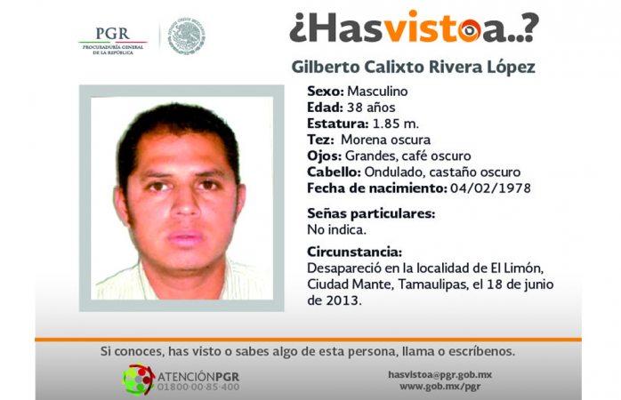 Piden ayuda para hallar a Gilberto Calixto Rivera López