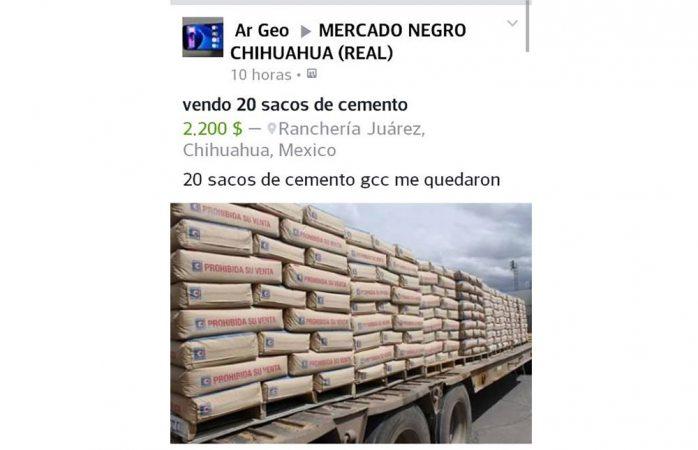Venden den Facebook cemento que es donado por GCC | La