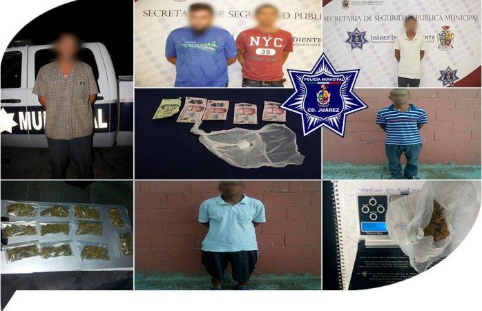 Detienen a 6 presuntos narcomenudistas en Juárez