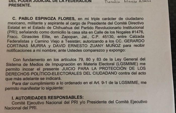 Presenta Espinoza impugnacion vs convocatoria ante el CEN