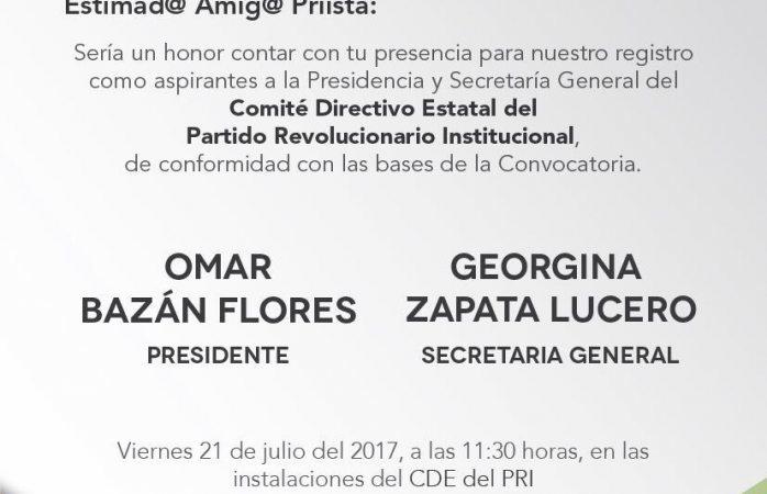 Anuncia Omar Bazán su registro el viernes a las 11:30