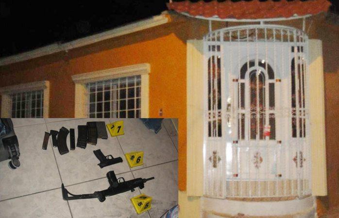 Catean vivienda en Loma Dorada; aseguran armas y cartuchos