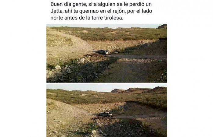Circula fotografía de auto quemado en El Rejón