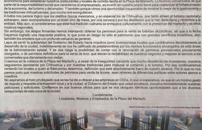 Piden locatarios de Plaza del Mariachi que les otorguen permisos para vender alcohol