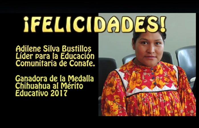 Felicita Conafe a Adilene Silva por su labor educativa