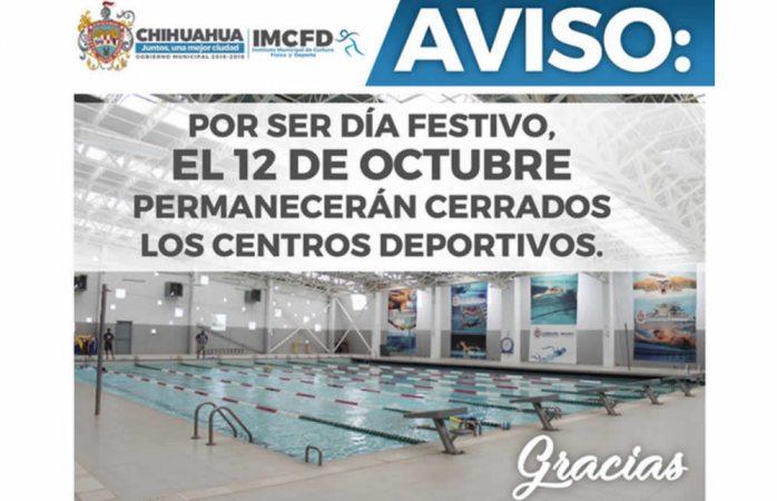 Cerrarán centros deportivos el 12 de octubre