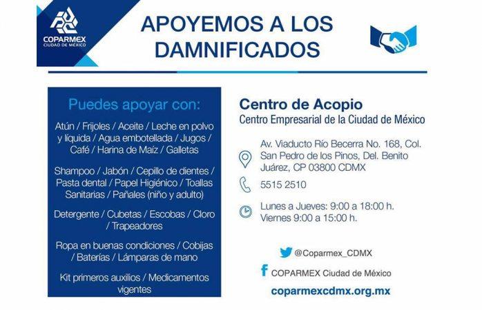Abre Coparmex centro de acopio para apoyar a afectados por sismo