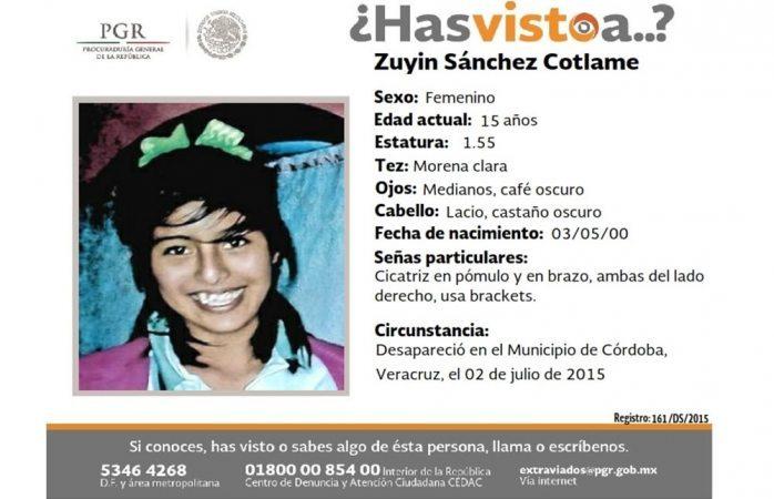 Piden ayuda para hallar a Zuyin Sánchez Cotlame