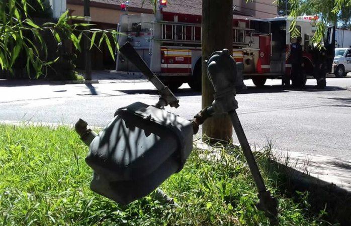Choca conductor con medidor de gas y provoca fuga