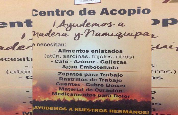 Vuelven congreso centro de acopio en apoyo a Madera