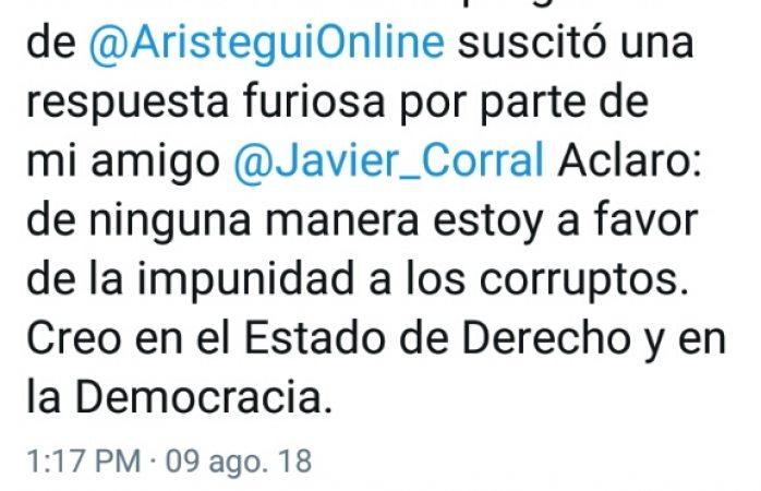 Responde Ortiz a tuit furioso de Corral