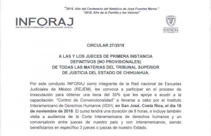 Invita Tsj a jueces y juezas a capacitación en Costa Rica