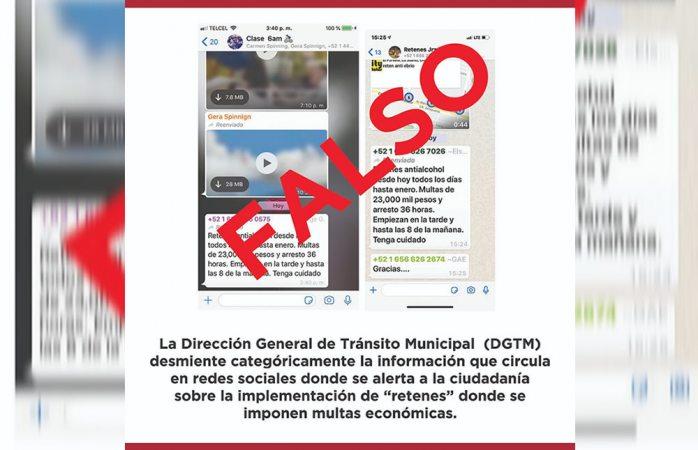 Desmiente tránsito información en redes sociales de retenes