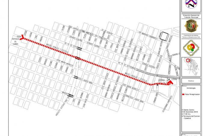 Resguardará tránsito peregrinación de parroquia Del Carmen