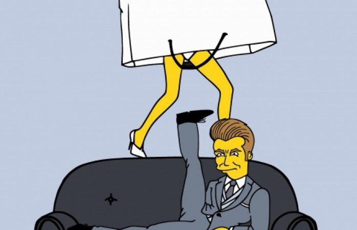 Plasma los Simpson a Victoria y David Beckham