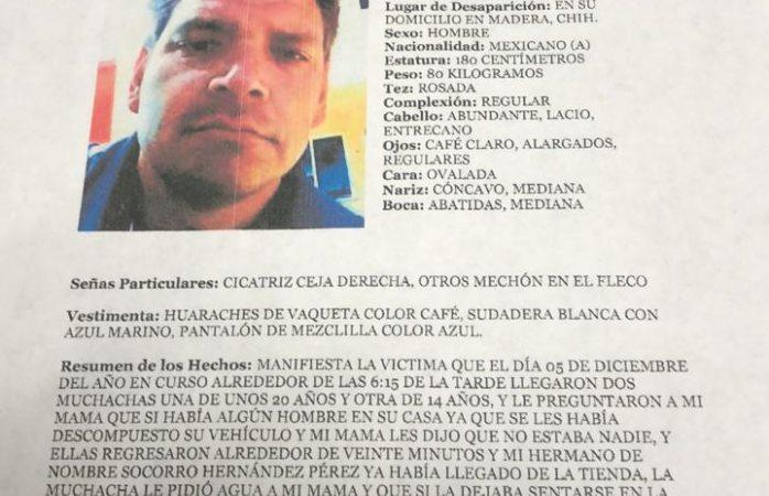 Buscan a hombre en Madera, desapareció tras ir a arreglar un auto