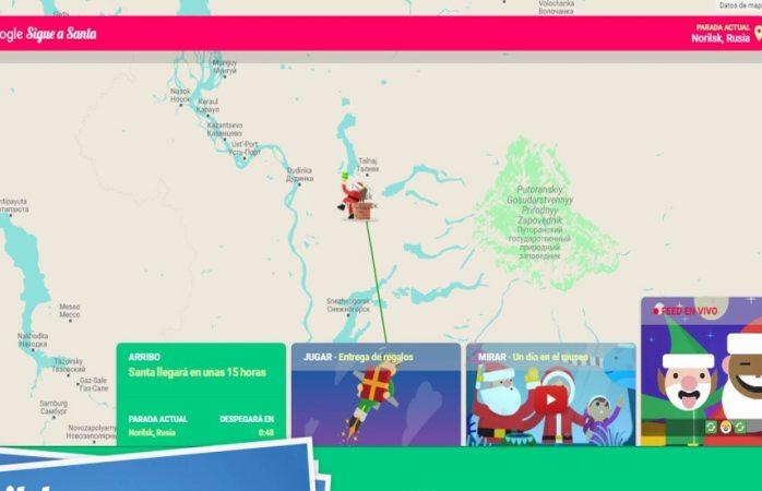 Sigue la ruta de santa claus con google