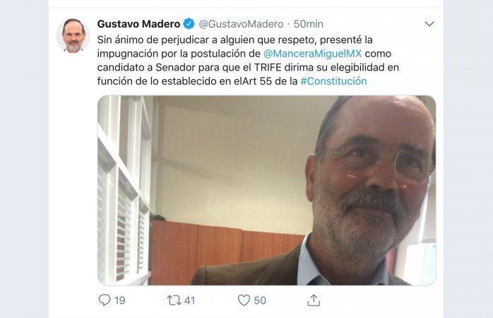 Impugna Madero postulación de Mancera al senado