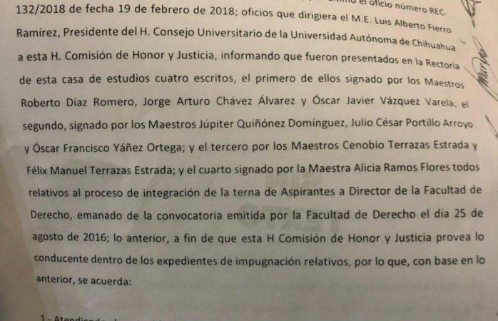 Se desisten ternas en derecho y ordenan ratificar la de Díaz Romero