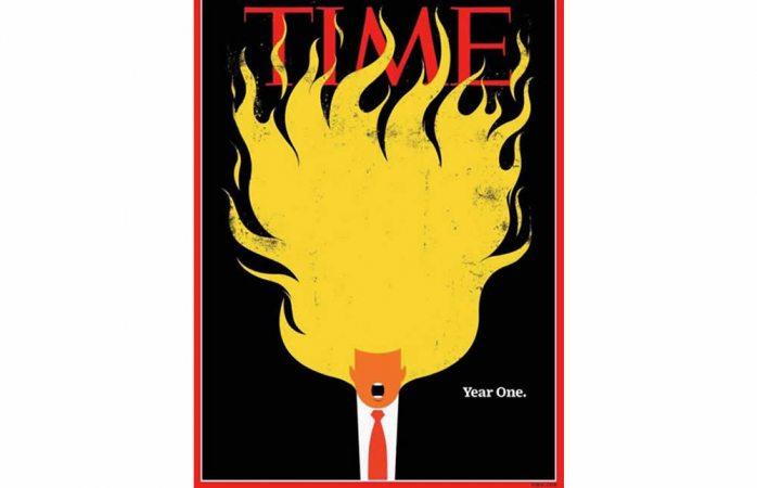 Revista Time dedica irónica primera portada del año a Donald Trump
