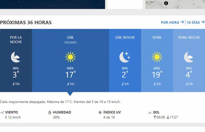 Se esperan 2º C como temperatura mínima para el sábado