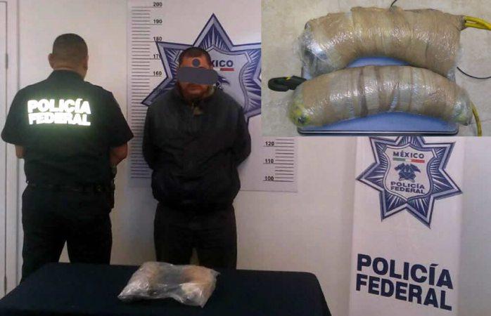 Detienen a conductor con 2 kg de cristal en la rúa a Juárez