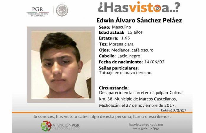 Piden ayuda para hallar a Edwin Álvaro Sánchez Peláez