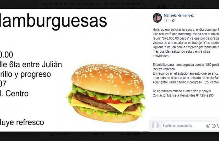 Harán hamburguesada para pagar estafa laboral