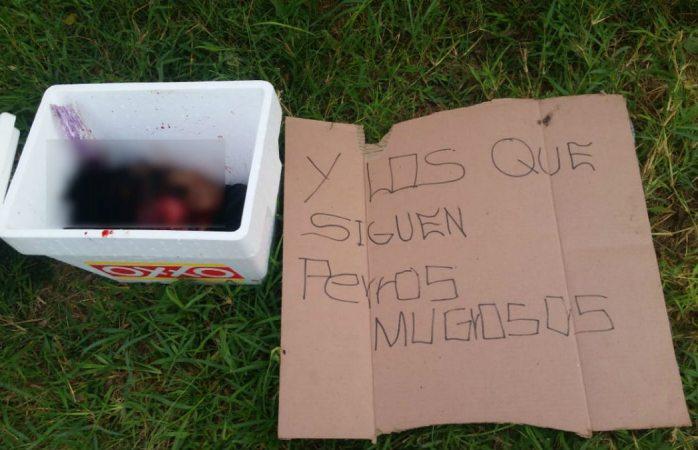 Dejan cabeza humana dentro de hielera  con narcomensaje en Jalisco