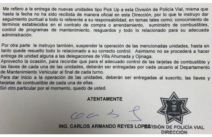 Miente Carlos Reyes: filtran doc donde ordena resguardo de patrullas