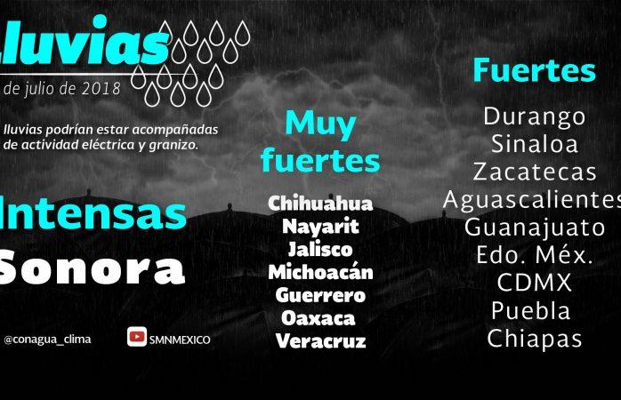 Pronostica SMN muy fuertes lluvias en Chihuahua