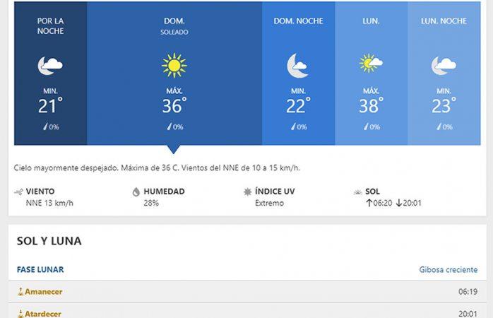 Se espera domingo soleado y caluroso con máxima de 36° C