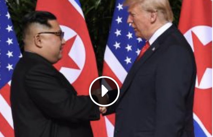 El histórico apretón de manos de Trump y Kim