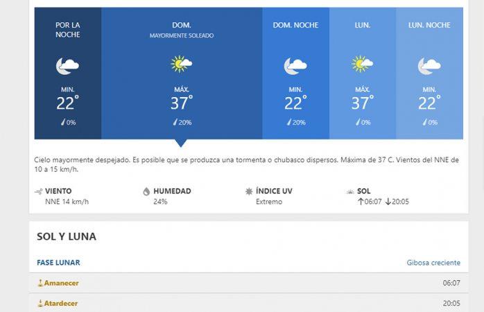 Domingo de extremo calor con máxima de 37° C