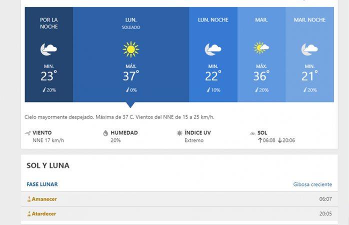 Inicio de semana caluroso, con máxima de 37° C