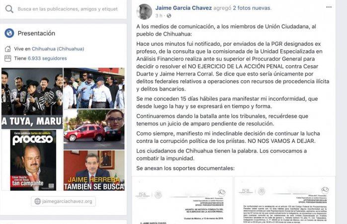 Resuelve PGR no ejercer acción penal contra Duarte y Herrera
