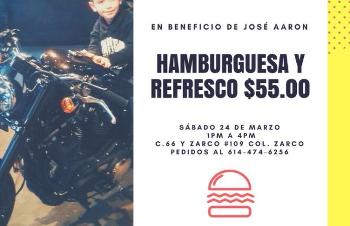 Harán hamburguesada para costear gastos médicos de niño con tumor cerebral